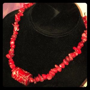 Stunning Vintage Carved Red Coral Beaded Necklace